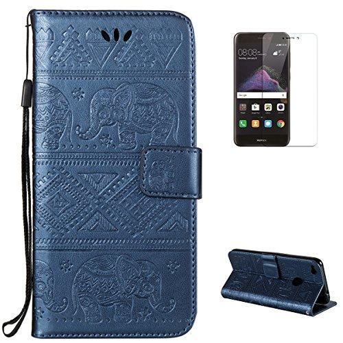 KaseHom Case for(Huawei P8 Lite 2017) Brieftasche Fall [Frei Schirm Schutz], Elefant geprägt Entwurf Flip Magnetisch Standfunktion mit Kartensteckplätzen Premium Leder Stoßfestes Blau