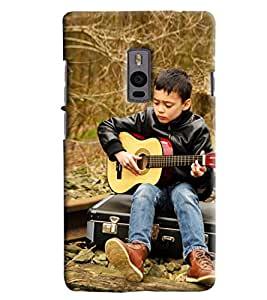 Blue Throat Boy Playing Guitar Hard Plastic Printed Back Cover/Case For OnePlus 2