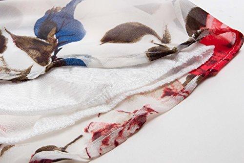 Angerella Ärmellos Chiffon Kleid Um den Hals Kleid mit Gürtel Rot-1