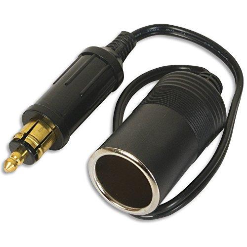 Carviya europäischen Stecker DIN Stecker Zigarettenanzünder Adapter Steckdose Mâle Fiche à Femelle Adaptateur Câble avec Cap Imperméable pour Voitures 12 V 24 V – 15 A