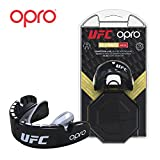 Opro Protège-Dents Adulte UFC pour MMA, Boxe, BJJ, Karaté et Autres Sports de Combat | Garantie Dentaire DE 18 Mois (Black, Protection Level: Gold (for Braces))...