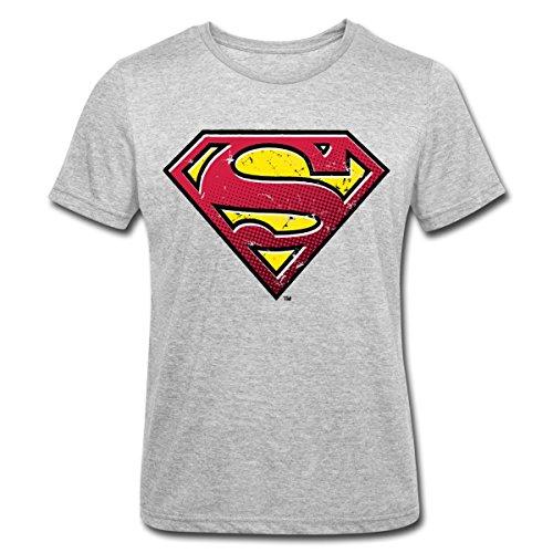 Spreadshirt DC Comics Superman Logo Used Look Männer Polycotton T-Shirt, L, Grau meliert (Mann Of Steel Superman Kostüm T Shirt)