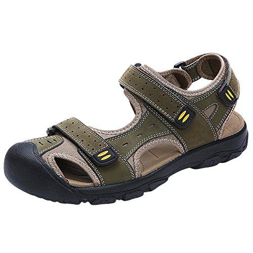 Oasap Men's Genuine Leather Round Toe Flat Velcro Beach Sandals Green