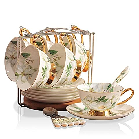 SSBY Luxury European style bone China coffee cup set, with British-style afternoon tea, vintage English rose coffee