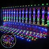 LED Lichternetz Lichterkette Baumbeleuchtung 1.5m 96 LED Strom Warmweiss Kabel mit Fernbedienung, Wasserdicht Kupferdraht 8 Modi Außen Innen für Party, Garten, Weihnachten, Hochzeit, Deko