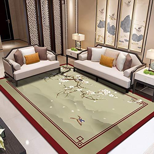 Chinesische Teppich (XGPT Teppiche im chinesischen Stil Landschaftsvögel und Blumen Muster Bedruckte Teppich Boden Matte Wohnzimmer Schlafzimmer Nachtdecke,A,80 * 120cm)