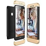 für Huawei P8 Lite 2017 Hülle, Handyhülle 3 in 1 Ultra-dünne Anti-Kratzer Hard PC case Covers mit Stoßfänger Anti-Rutsch Matt für P8 lite 5.2 Zoll Case Cover (Gold + Schwarz, P8 Lite 2017)