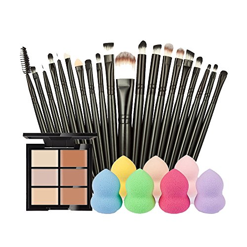 Rcool 1PC 6-Color Concealer + 20PC Cosmetic Makeup Brush + 1PC Water Face Powder Puff (A)