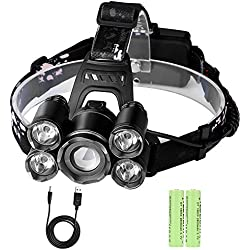 Linterna Frontal LED Recargable Alta Potencia Rango de Iluminación hasta 500 Metros Luz 4 Modos Zoom Ajustable con un Par de Batería para Camping,Running,Caza,Luz de Emergencia Trabajo al Aire Libre