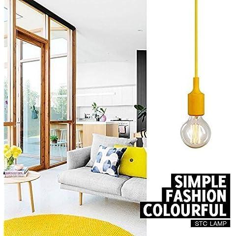 Generic in Silicone Colorato E27Socket Lamp Holder Ciondolo Illuminazione Fai da te da soffitto giallo