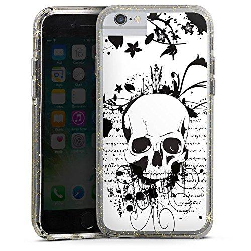Apple iPhone 6s Bumper Hülle Bumper Case Glitzer Hülle Skull Schädel Ornamente Bumper Case Glitzer gold