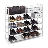 Relaxdays - Zapatero Compuesto de estructuras de Acero, Tela y Conectores de plástico con Medidas 90.5 x 87 x 29.5 cm 5 Pisos hasta 25 Pares de Zapatos, Color Blanco