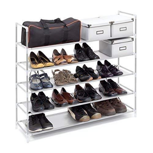 Relaxdays Schuhregal mit 5 Ablagen, Schuhablage für 20 Paar Schuhe, beliebig erweiterbar, HxBxT: 90,5x87x29,5 cm, weiß -