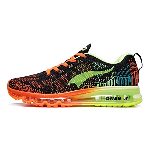 ONEMIX Damen Laufschuhe Air Sportschuhe Sneaker Turnschuhe Running Fitness Straßenlaufschuhe Schwarze Orange 1118W HYGL 43