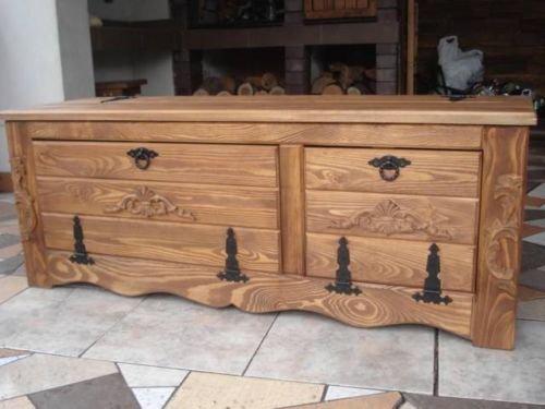 Massive handgemachte Holzkiste Truhe Box Holz Aufbewahrung Antik Dekoration IL3