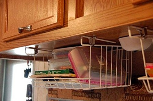 funkybuys® Mittelgroße und Große Chrom Weiß Unter Regalen Aufbewahrungskorb Rack Halter Küche Mülleimer Badezimmer Veranstalter platzsparend, Chrome, M -