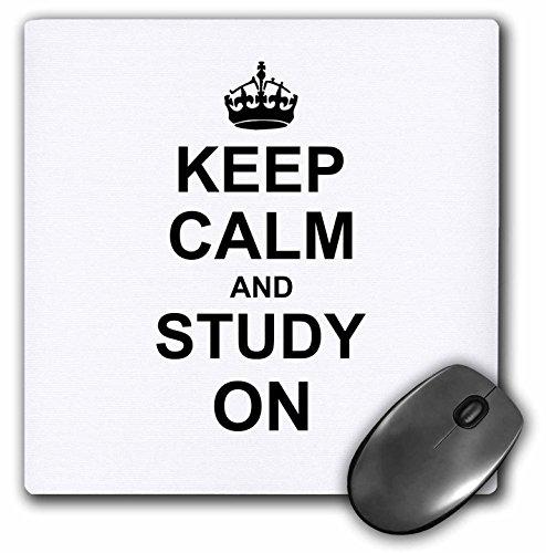 3drose LLC 20,3x 20,3x 0,6cm Maus Pad, Keep Calm und Studie auf Carry On Funny Humor, College Schule oder Universität Studieren Geschenke (MP 157775_ 1)