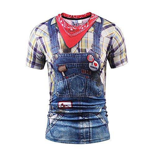 Yonbii Herren Unisex Rundhals Casual Strassenmode T-Shirt Tops-9