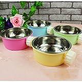 Ulable 2in 1Edelstahl Pet Food Box, Katze Puppy Food Drink Wasser Gericht mit Befestigung Gerät Drei Farbe (zufällige Farbe Wird Senden