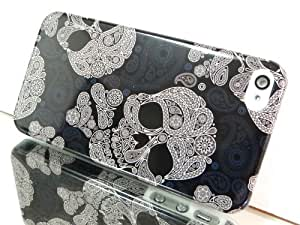 Exklusiv-Cad iPhone 4 4S HARD Case cover hülle schale DESIGNER SKULL Totenkopf gothic bling silber