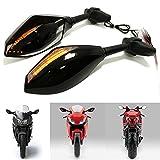 Universal Motorrad Spiegel Mit LED Blinkleuchten Indikatoren Rückansicht Für Sport Bike Honda CB1000 CBR600 F4i Suzuki GSXR600 750 1000