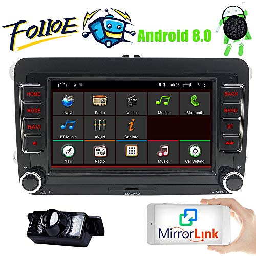 FOIIOE 7 Zoll Android 8.1 2 GB RAM Doppel DIN Autoradio für VW Volkswagen Golf Passat Polo Jetta Tiguan Scirocco Skoda Seat WiFi GPS Navigation SD FM RDS Bluetooth Lenkradsteuerung