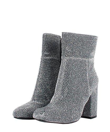 Steve Madden goldeeee Silver Fabric Boots–Stiefeletten Silber Stoff Silber