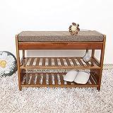 YGracks Hölzern Natürlicher Bambus für Schuh-Hocker, Massivholz-Bett-Hocker-Schuhschrank, Einfacher Moderner Sofa-Hocker, Türschuh-Hocker-Aufbewahrungsschuhgestell (Größe : 90cm)