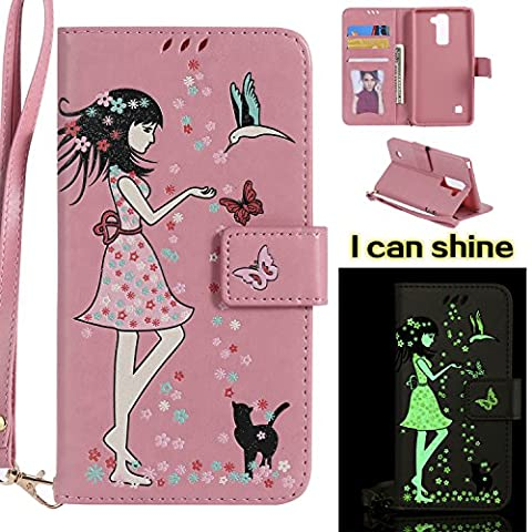 LG Stylus2 K520 LS775 Case, LG Stylus2 K520 LS775 Case [Pink],LG Stylus2 K520 LS775 Luminous Case, Cozy Hut [Night Luminous] [Wallet Case] Magnetic Flip Book Style Cover Case ,Glow in the Dark Creative Design Cat and woman Pattern Design Premium PU Leather Folding Wallet Case With [Lanyard Strap] and [Credit Card Slots] Stand Function Folio Protective Holder Perfect Fit For LG Stylus2 K520 LS775 - Pink