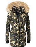 Marikoo Damen Winter Mantel Steppmantel Nova (Vegan Hergestellt) Camouflage Gr. L