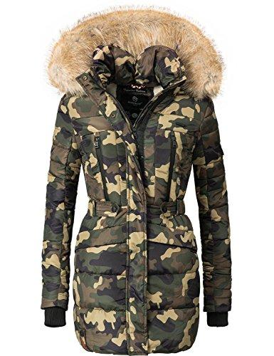 Marikoo Damen Winter Mantel Steppmantel Nova (vegan hergestellt) Camouflage Gr. S