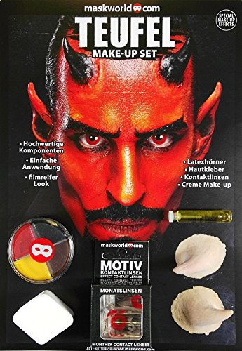 Maskworld Make-up Set Teufel - Halloween Schminke Komplett-Set mit Kontaktlinsen ...