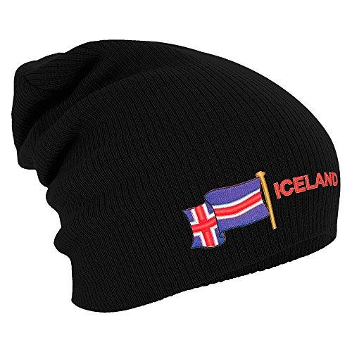 Longbeanie Slouch-Beanie Flagge Iceland Island 55431 Farbe schwarz