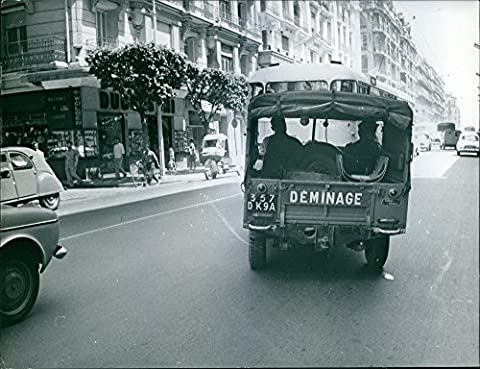 Vintage photo of A Mine Clearance jeep on the road during Algerian War. 1961.