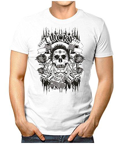 PRILANO Herren Fun T-Shirt - LUCKY-SKULL - Small bis 5XL - NEU Weiß