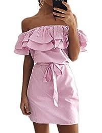 Las Mujeres Verano Casual Stripes Fuera Del Hombro Mini Vestido Con Volantes