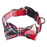 AcornPets C-021 Hand-made Classical Red Tartan Dog Collars with Butterfly Knot Design, Size Adustable From 34 To 48 CM For Small or Medium Size Dog Up To 30 KG