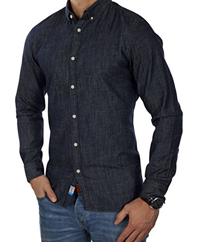 JACK & JONES Herren Hemd jorSPOT Shirt leichtes Jeanshemd Denim Freizeit Business Slim Fit