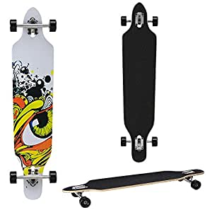 Longboard von [pro.tec] (104 x 23 x 9.5 cm) - ABEC 7-Kugellager - Skateboard / Dropped Through/ Freeride Board / Cruising Board / Retro Board - Farbe: grau - schwarz - gelb
