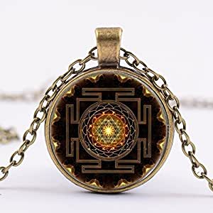 Buy amberroze sri yantra mandala glass dome pendant necklace for amberroze sri yantra mandala glass dome pendant necklace for women aloadofball Image collections