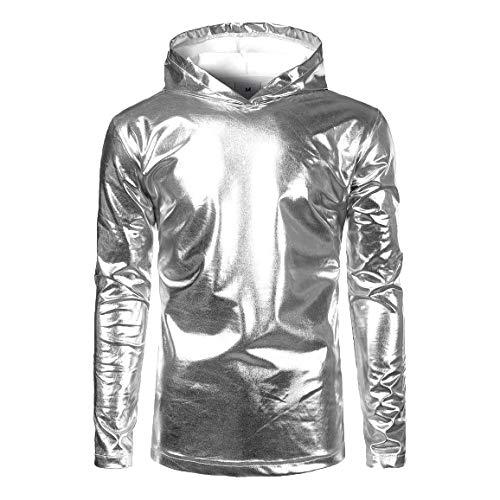 5246b7221e67 Moda para Hombre Bling Shiny Slim Hoodie Trend Look Tamaños Cómodos  Metalizado Camisetas De Manga Larga