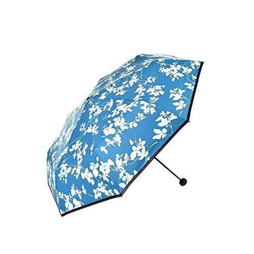 Taschenschirme Sonnenschein Und Regen Klein Und Frisch Schwarzer Leim Sonnenschirm Dreifach Gefaltet Sonnencreme Anti-Ultraviolett Sunumbrella Sky Blue