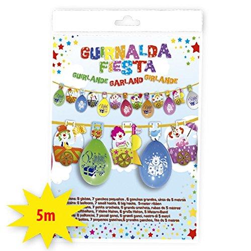 Guirlande Ballons Clown Decoration Anniversaire - 5M - Multicolore - 5327