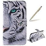 trumpshop Smartphone Schutz Schale Tasche Handyhülle für Samsung Galaxy S6 Edge Tier-Reihe mit Tiger PU Lederhülle Flip Etui Hülle SchutzHüllen Standfunktion Kredit Kartenfächer