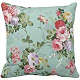 YaYa cafe Tyyc Vintage Floral Pattern Cotton Printed Single Cushion Cover (Green, 20X20 Inches)