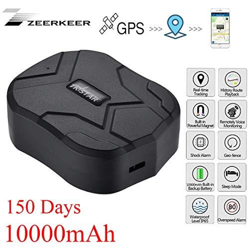 GPS Tracker , 10000MAH GPS Ortung, Wasserdicht Echtzeit tracking GPS Locator, Professional Anti-verloren ,GPS Alarm Car Tracker für Auto lkw Moto Gefrier Boot mit Freier APP (Auto Tracking)