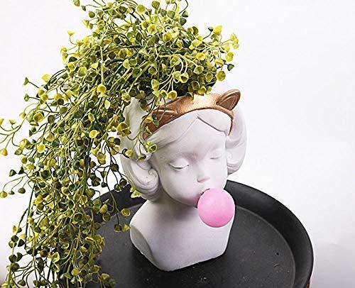Fugeges Dekoration Wohnung Modern Mädchen Vase Dekoration Kreative Statue Blumentopf Pflanze Topfblume Blume Kunst Porträt Dekoration Kleine Frische Wohnzimmer 19 * 22 cm