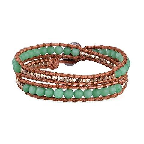 Luxe Beau Mat Agate Perles Cuir Chaîne Multilayers Nouveau Bracelet Emballage Bracelets