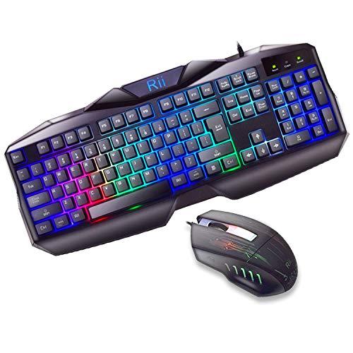 Rii RM400 Teclado Gaming Rainbow Conjunto de Pack de teclado y ratón...