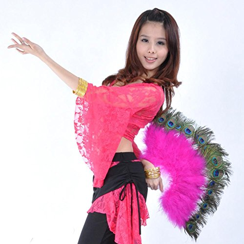 Byjia Dance accessories Bauchtanz Pfau Feder Marabou Fan Große Hand Kostüm Halloween Party Plastik Staves Soft Fluffy Lady Burlesque Fantasie Falten Professionelle Leistung, Rose Red, (Red Right Hand Kostüm)
